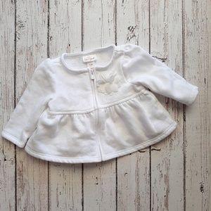 CAT & JACK Baby Girl Zip Cardigan White 0-3M